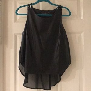 ASTR Leather Tank Top with Sheer Back